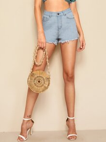 Rolled Cuff Raw Hem Denim Skirt