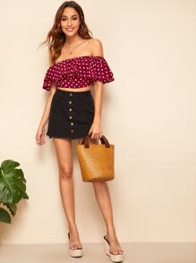 Exaggerate Ruffle Yoke Polka Dot Crop Top