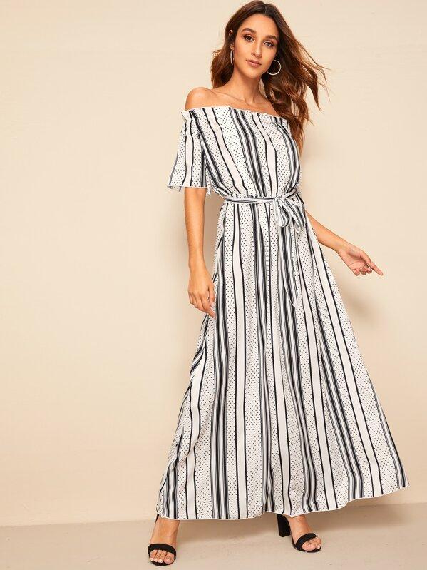 60838b379edc Strip And Dot Print Off Shoulder Maxi Dress