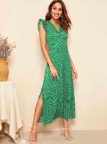9f0d162541 Ditsy Floral Ruffle Armhole Side Split Maxi Dress | SHEIN UK