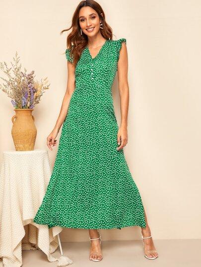 d1a6173e2ae Ditsy Floral Ruffle Armhole Side Split Maxi Dress