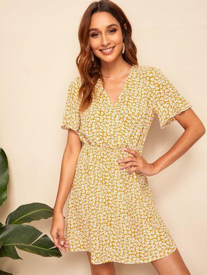 7194fd9c465 Lettuce Trim Cuff Ditsy Floral Print Wrap Dress