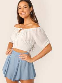Tie Neck and Cuff Shirred Swiss Dot Crop Top