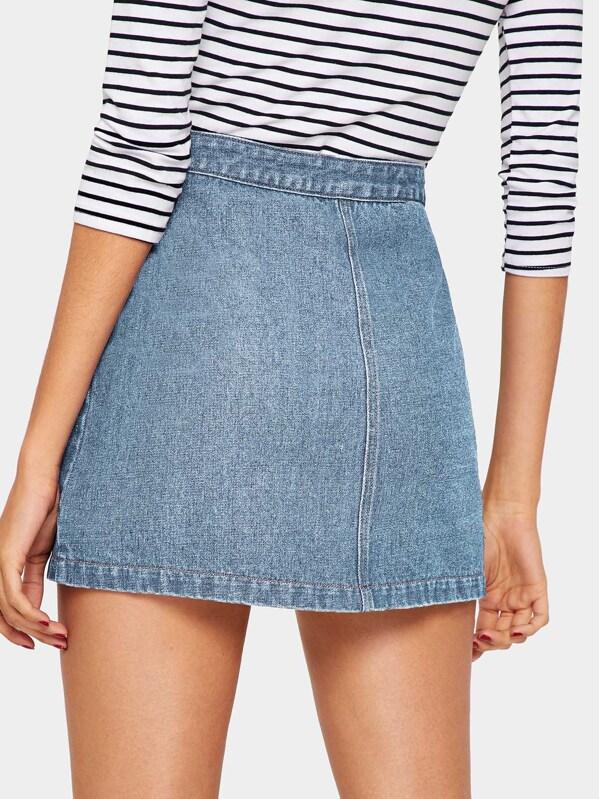 096a6e5ea7 Bleach Wash Button Up Denim Skirt | SHEIN UK