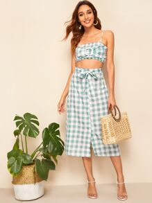 O-ring Detail Shirred Gingham Top and Skirt Set