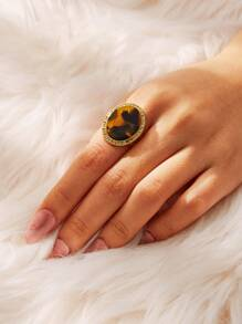 Tortoiseshell Pattern Round Decor Ring 1pc