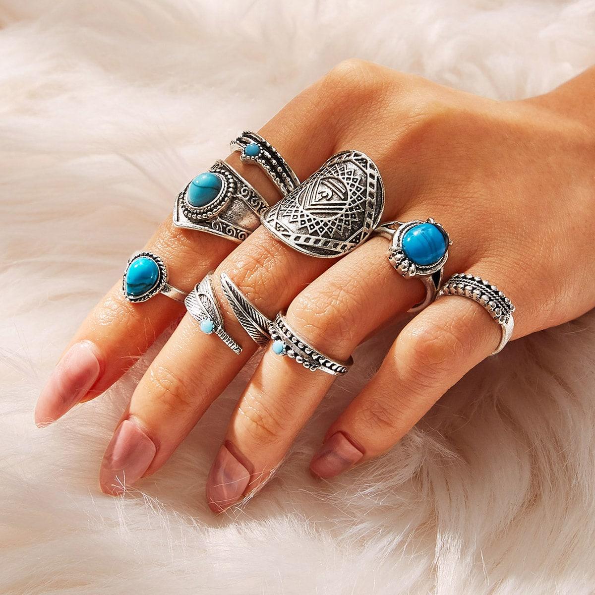 Фактурное кольцо с драгоценными камнями 8шт. от SHEIN