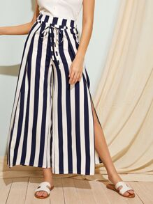 Split Thigh Striped Drawstring Waist Pants