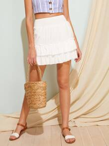 Solid Ruffle Shirred Waist Skirt