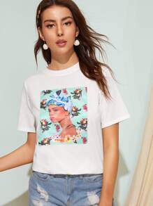 Floral And Figure Print Tee