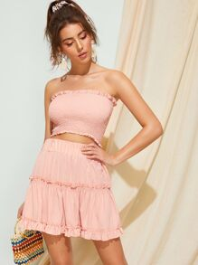 Shirred Solid Bandeau Top With Ruffle Skirt