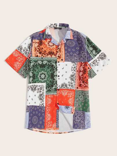 Camisa de hombres con retazo con estampado azteca | Mode de