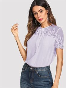Keyhole Back Lace Insert Tie Front Top