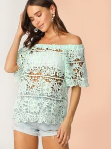 Off Shoulder Guipure Lace Top Without Bandeau