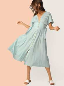 Solid Button Front Tie Waist Dress