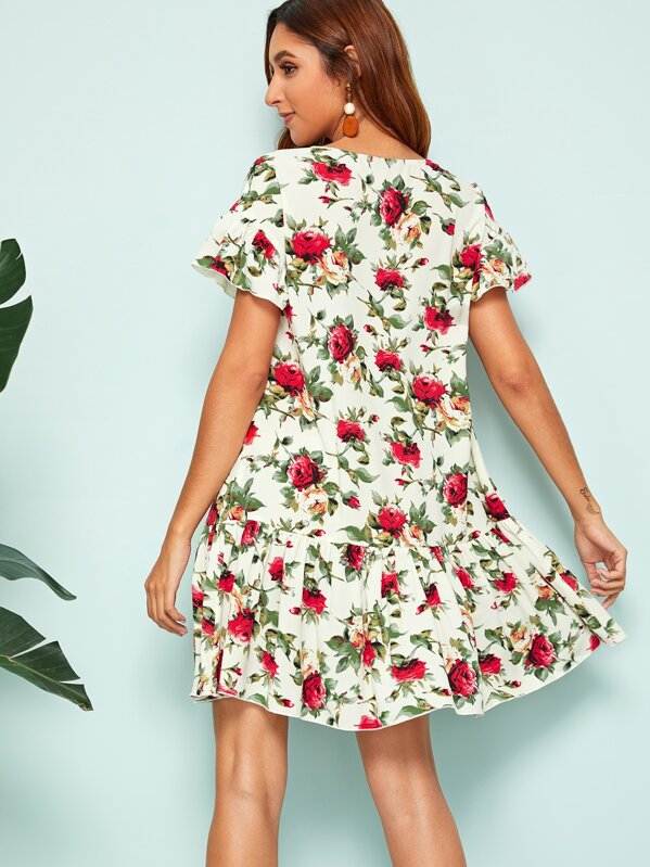 6b5fb8c98a V-neck Button Front Ruffle Hem Floral Print Dress   SHEIN