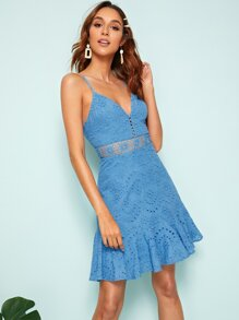 Lace Insert Ruffle Hem Schiffy Slip Dress