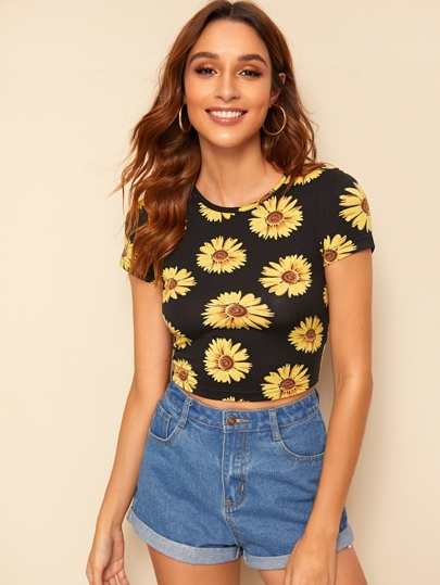 6b134ef8c9b Sunflower Print Crop Tee