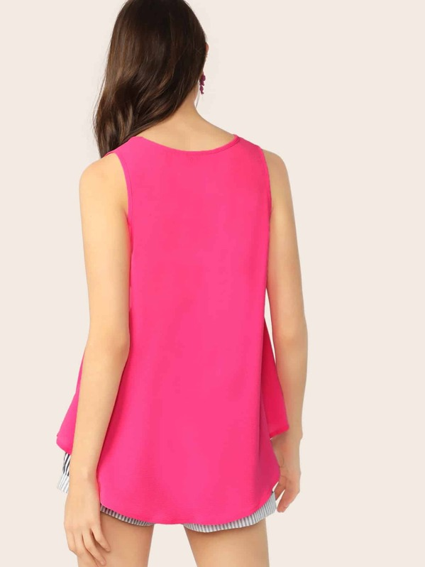 cf20d87dc4 Neon Pink V Neck Top | SHEIN IN