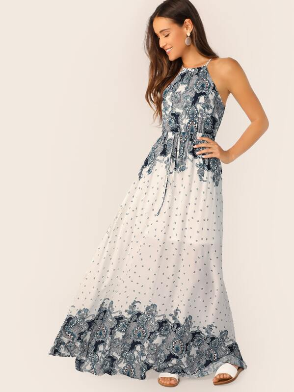da8b90e72 Halter Neck Waist Tie Paisley Print Maxi Dress | SHEIN