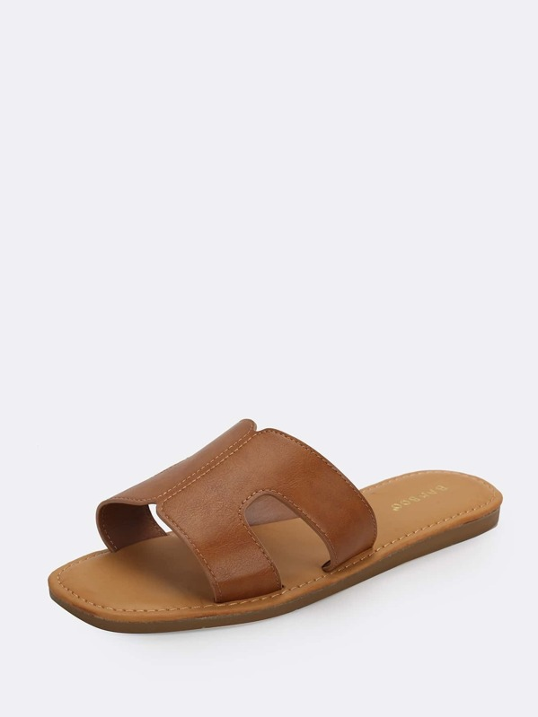 eebe262d45f33 Wide Band Dual Cut Out Slide Sandals