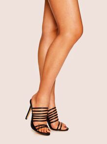 Strappy Stiletto Heeled Mules