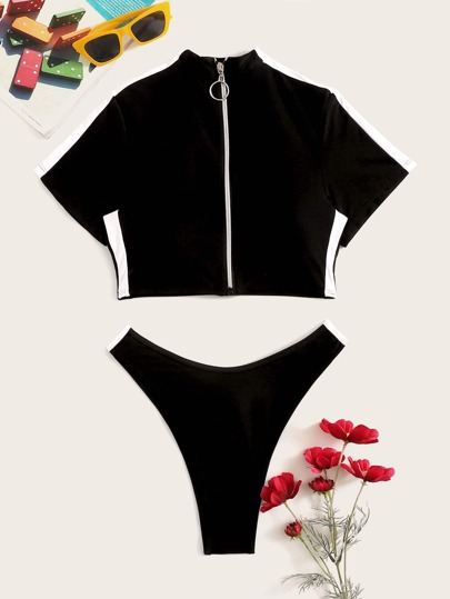 9e9523abb3d7b2 Zipper Front Short Sleeves Two Piece Swimwear