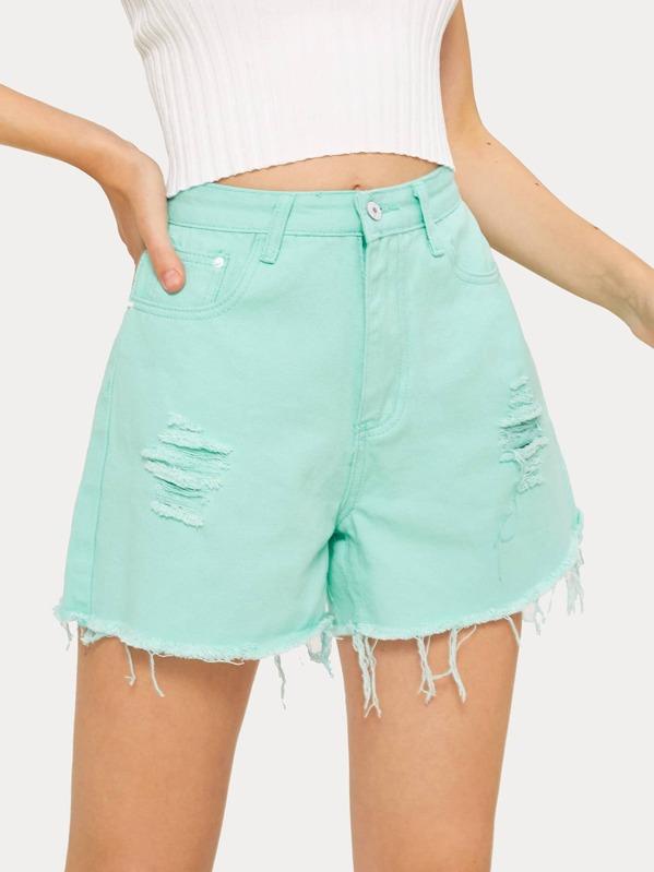 fbd1e8b9f523 Ripped Raw Hem Denim Shorts   SHEIN