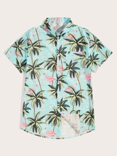 cfd579a13 Men Flamingo   Tree Print Shirt