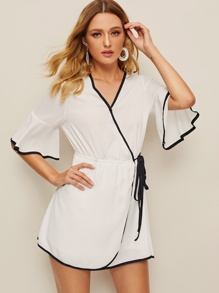 Contrast Piping Trim Flounce Sleeve Wrap Dress