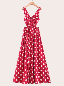 Polka Dot Crossover Split Maxi Dress
