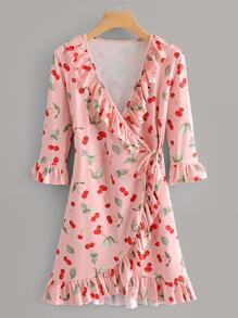 Cherry Print Ruffle Trim Wrap Dress