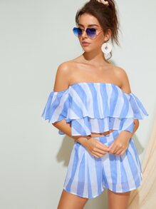 Striped Layer Ruffle Off The Shoulder Top With Shorts