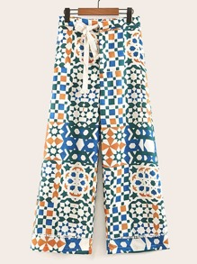 Drawstring Waist Geo Pattern Pants