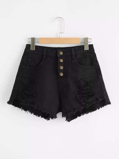 252fb1a608 Plus Raw Hem Ripped Denim Shorts out of