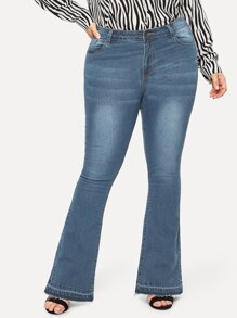 Plus Flare Leg Washed Jeans