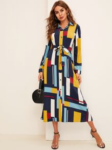 Colorful Geometric Print Belted Shirt Dress