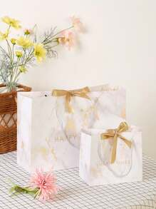 Marble Pattern Paper Bag Set 2pcs