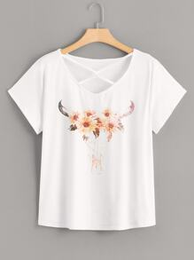 Plus Floral Print Criss Cross Tee