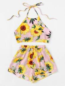 Plus Sunflower Print Halter Top With Shorts