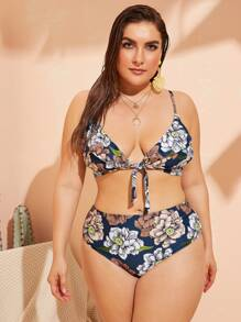 Plus Floral Knot Top With High Waist Bikini