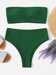 Plus Bandeau Top With High Cut Bikini