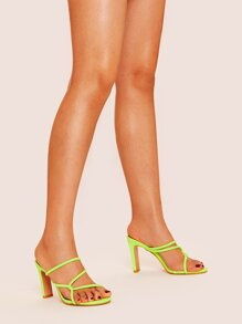 Neon Lime Strappy Chunky Mule Heels