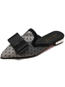 Bow Decor Polka Dot Flat Mules