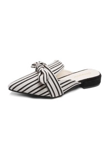 Pointed Toe Striped Bow Decor Flat Mules
