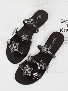 Rhinestone Decor Flat Sliders