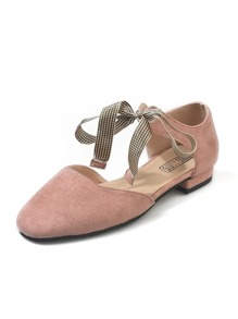 Suede Ankle Bow Tie Flats