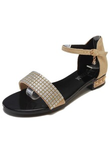 Rhinestone Decor Suede Sandals