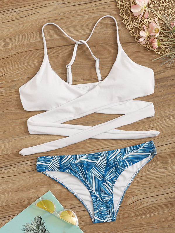 022a814a87 Criss Cross Wrap Top With Leaf Print Bikini Set | SHEIN
