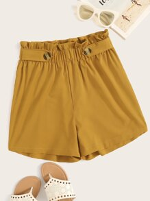 Buttoned Strap Detail Paperbag Waist Shorts